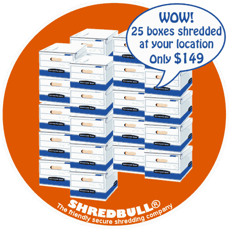Orange County Shredding Special Offer 25 boxes for $149